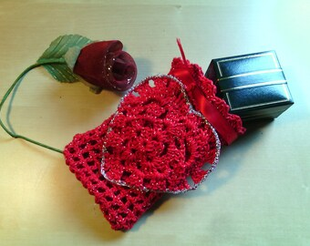 Jewelry Pouch bag Gift box-gift idea-Valentine's Day-red crochet bag