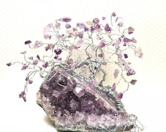 Amethyst Gem Tree, Purple Amethyst Cluster Rock, Wire Tree Sculpture, Reiki Decor, Yoga Gifts, Crystal Trees