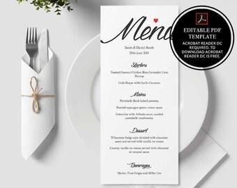Menu template, wedding menu, printable menu, wedding template, printable wedding, instant download, menu printable, menu, calligraphy,pdf,01