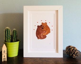 Bear Cuddles Print (unframed)
