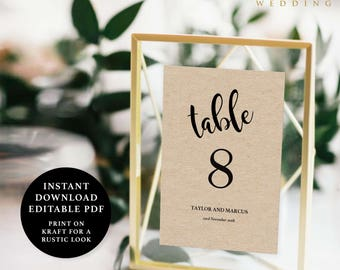 Table Number Template, 5x7, Instant Download Printable, Editable PDF, EWTN006B