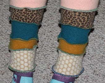 Pretty Fun Funky Quirky Handcrafted Leg Warmers Created From Upcycled Repurposed Recycled Sweaters