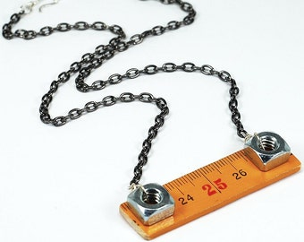 Yellow Ruler Necklace- Upcycled Wood Folding Ruler Jewelry, Gunmetal Hardware Necklace, Hex Nut Jewelry, Found Object Jewelry by Tanith Rohe