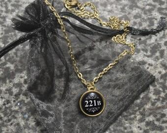 Sherlock 221B Baker Street necklace – BBC Sherlock cosplay prop – jewelry / jewellery