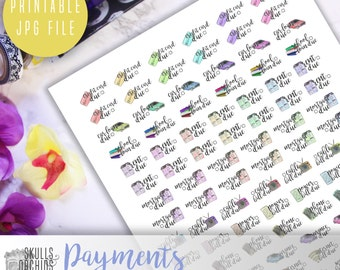 Functional Phrases for Payments – PRINTABLE Planner Stickers for Erin Condren, Happy Planner, Personal-Sized Planners, etc