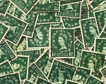 Dark green, used, British, 1 1/2d wilding postage stamps all off paper for collage, stamp collecting, scrapbooking, decoupage and crafting
