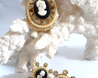 Vintage Coro 1940s Cameo Brooch and Earring Set Victorian Revival Pearl and Cameo Brooch Vintage Jewelry Sets Coro Jewelry
