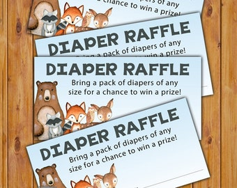 Woodland Animals Diaper Raffle Card for Baby Shower Fox Bear Deer Owl Raccoon Invitation Inserts Printable PDF--Instant Download