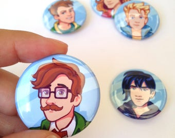 LAST CHANCE SALE Stardew Valley Bachelors Buttons Alex Elliot Harvey Sam Sebastian Bachelor Stardewvalley fanart fan art pins pin cute guys