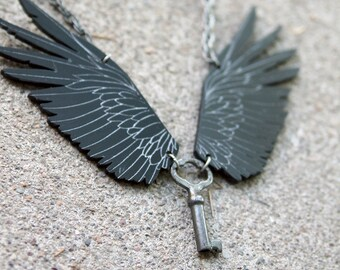 Wings Necklace, Lasercut Jewelry, Raven Necklace, Key Necklace, Handmade Jewelry, Statement Necklace, Gothic Jewelry, Steampunk Jewelry