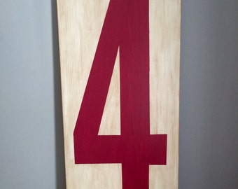 Number Sign.  Hand Painted vintage style number sign.  Faux Vintage Marquee Number Sign.  Family number Sign.  Custom Wood Sign.