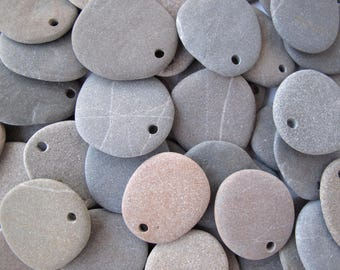 Flat Rock Beads Beach Stones Mediterranean Pebbles Natural Stone River Rock Diy Jewelry Making Craft Art Stones MATTE FLAT LOT 30-33 mm