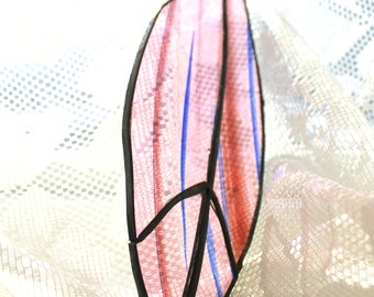 Stained Glass Feather SunCatcher Pink and Blue Cathedral Glass
