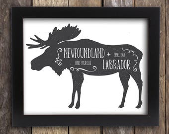 Newfoundland Labrador Art Moose Decor - Canadian Moose Art - Antler Hunting Lodge Decor - Atlantic Canada St John's Gander Poster