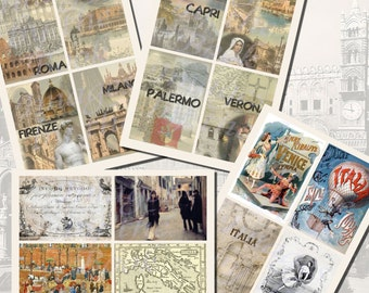 Italy Printables, POSTCARD SIZE,  (3.5 x 5 Inch  or 12.7 x 8.8 cm), 16 Total