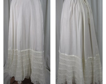 Edwardian 1900s Petticoat Half Slip with Drawstring 7 Rows of Lace