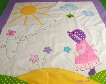 Baby quilt, pink baby quilt, personalized baby blanket