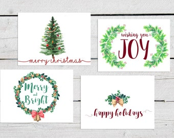 Printable Christmas Cards, Set of 4 Christmas Cards, Hand Drawn Christmas Cards