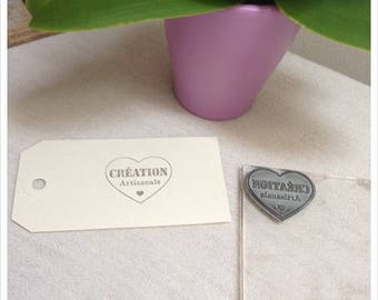 Pretty antique rubber stamp unmounted heart writing * artisan Creation * height 3 cm