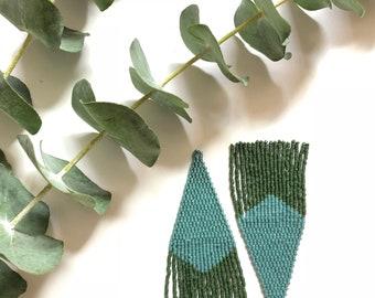 Deep Forest /Beaded Fringe Earrings / Fringe Earrings / Tassel Earrings / Beaded Jewelry / Native American inspired  Earrings / colorful / d