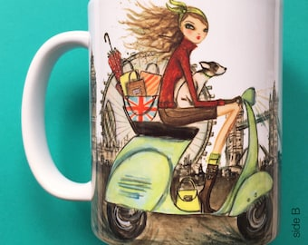 Lola London, Coffee Mug, Fashion illustration, Bella Pilar, Fashion mug