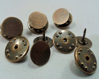 100 Pcs 10 mm Antique Bronze Tie Tacks  Blanks Pin Findings
