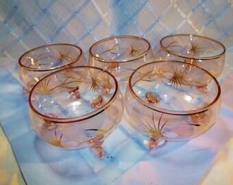 Vintage 3-Footed Pale Pink Glass Dessert Bowls - Set 5