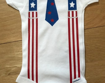 4th of July Suspenders & Tie Baby Onezie ... FREE Personalization Shower Gift NB - 18 mo.