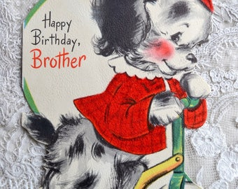 Vintage Birthday Card - Flocked Puppy on Scooter - Used to Brother