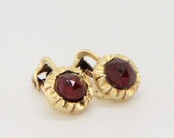 Antique gold and garnet clip on earrings, bohemian garnet jewelry, rose cut garnet gemstones, bridal earrings, red earrings, free shipping