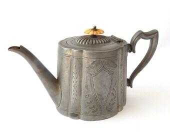 Antique American Pewter Teapot