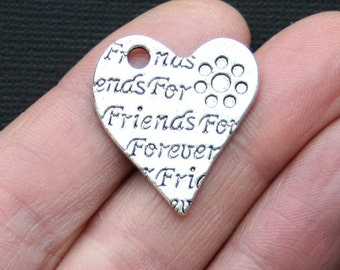 4 Friend Charms Antique  Silver Tone Forever Friends Heart - SC2908