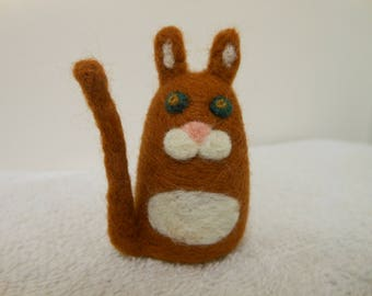 Needle Felted Cat Brown and White Tabby Small Merino Wool