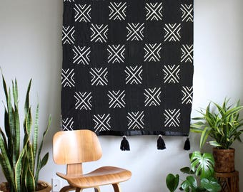 Large X 1 - Black Mudcloth African Wall Hanging, Mud Cloth Large Wallhanging, Pom Pom Throw Blanket, Tassel Tapestry, Bohemian Home Decor