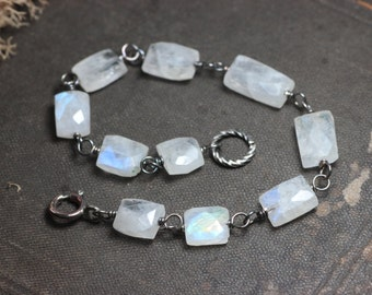 Moonstone Bracelet Wire Wrapped White Gemstone Bead Luxe Rustic Jewelry Antiqued Silver