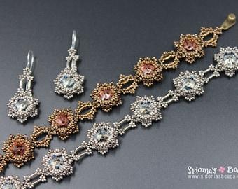 Bracelet and Earrings Beading Tutorial - Beading Pattern for 10mm Bezeled Rivolis Flowers - Blazing Stars - Digital Download