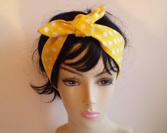 Yellow White Polka Dot Head Scarf, Yellow and White Dot Head Scarf, Polka Dot Head Scarves, 1950s Head Scarf