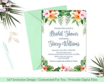 Tropical Bridal Shower Invitation / PRINTABLE Tropical Bridal Shower Invite / Floral Tropical Bridal Shower / Luau Bridal Shower / White