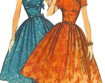 Vintage 1950's Sewing Pattern Empire Style Bodice Full Skirt Dress Bust 32""