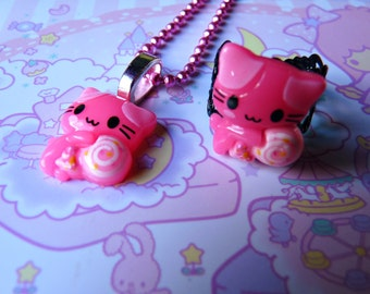 Pink Candy Cat Ring and Necklace