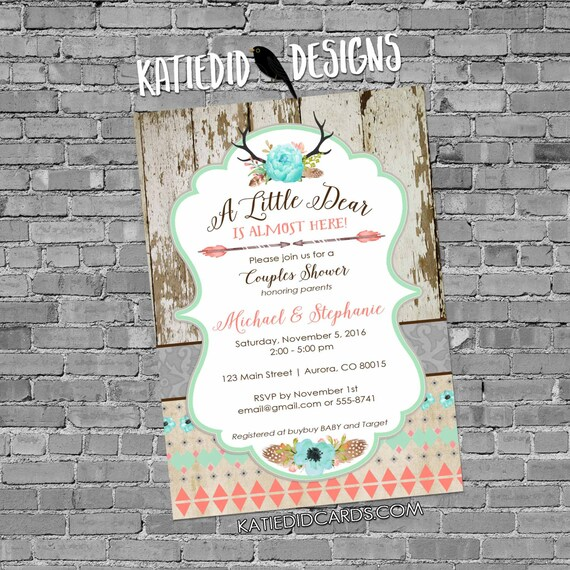 boho baby shower tribal invitation antler rustic chic baby shower invitation floral chic invite diaper and wipe brunch | 1382 Katiedid Cards