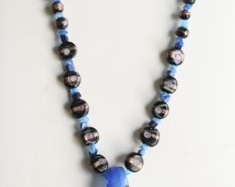 Cobalt Glass and Shell Necklace