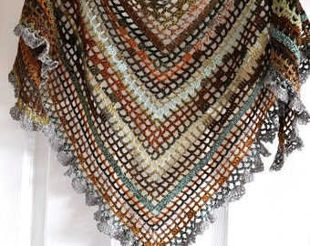 Crochet Shawl In Gypsy Style in Maple Leaves - Made To Order