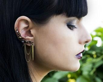 Bohemian Spike Earrings - Ear Cuff Wrap With Labradorite Gemstones - Bronze Jewelry - Gothic Victorian