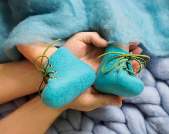 Baby's first shoes Newborn booties Deep water aqua blue lace up boots Natural wool shoes Felted eco friendly woolen felted children slippers