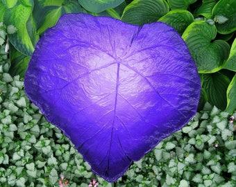 Concrete leaf birdbath , Purple colored bird bath, Yard art, Patio decor, One of a kind stone bird bath/ feeder,