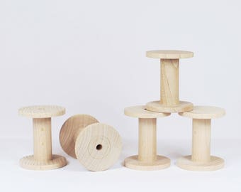 5 Wooden Bobbins / Spools - DIY, organize and decorate - made exclusively and locally for us