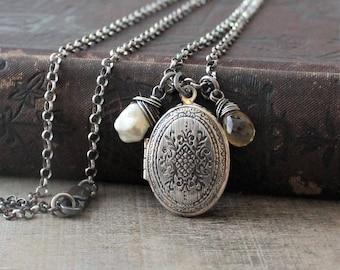 Sterling Silver Locket Necklace, Oval Locket Silver, Pearl Gemstone Locket, Citrine Locket, June Birthstone Locket, November Birthstone