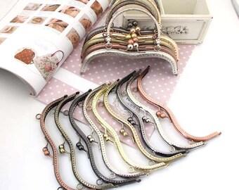 Golden Brass Kisslock Frame Hoop w/ Ring Diamond for Bag Purse , 1 PCS, D153
