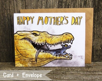 Crocodile Mom and Baby Bad Ass Mother's Day Card